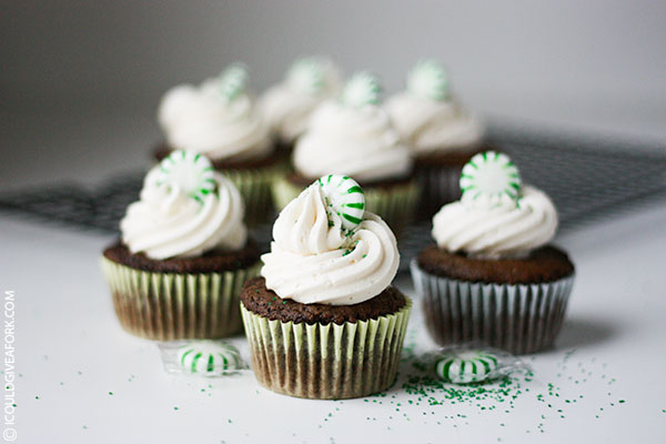 gluten free chocolate cupcakes with peppermint buttercream icing