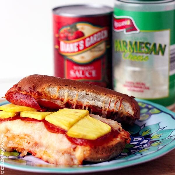 Pizza Sub with Gluten Free Hotdog Buns