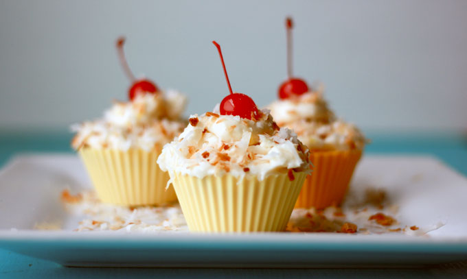 Gluten free pina colada cupcakes